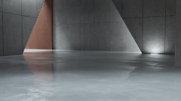 Digital compositing empty futuristic architecture with cement floor
